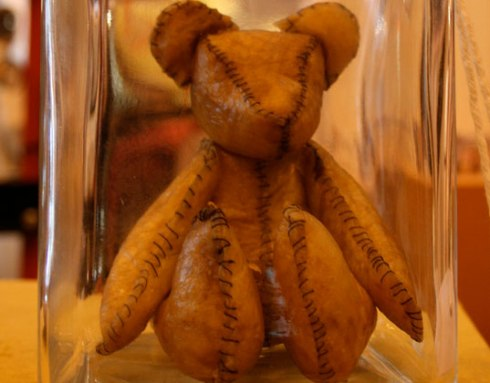 Placenta Teddy.  Yes.  A teddy bear sewn out of your own dried placenta.  Perfect keepsake for sentimentalists.  Or crazies.  You decide.